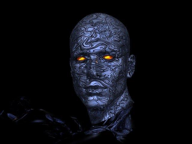 Abstraktný obrázok ľudskej robotickej hlavy
